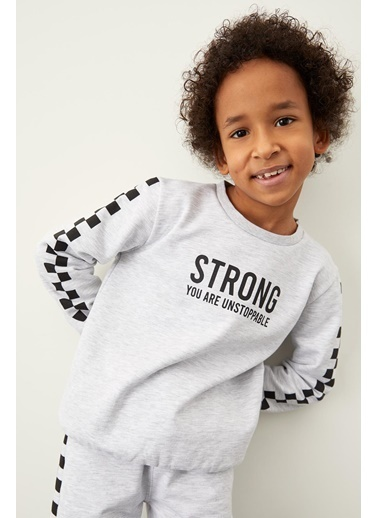 DeFacto Erkek Çocuk Yazı Baskılı Sweatshirt Gri
